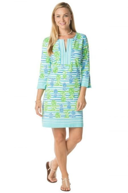 17a18-saras-pineapples-print-slit-neck-dress-turq-lime-2