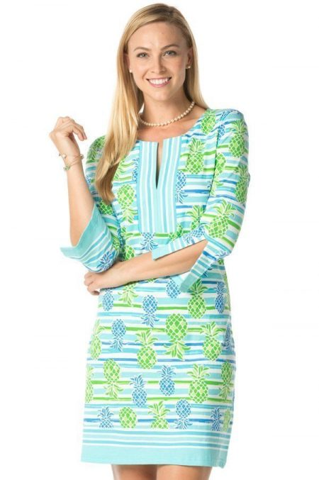 17a18-saras-pineapples-print-slit-neck-dress-turq-lime