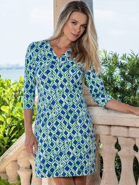 19c47 nylon v neck dress navy green