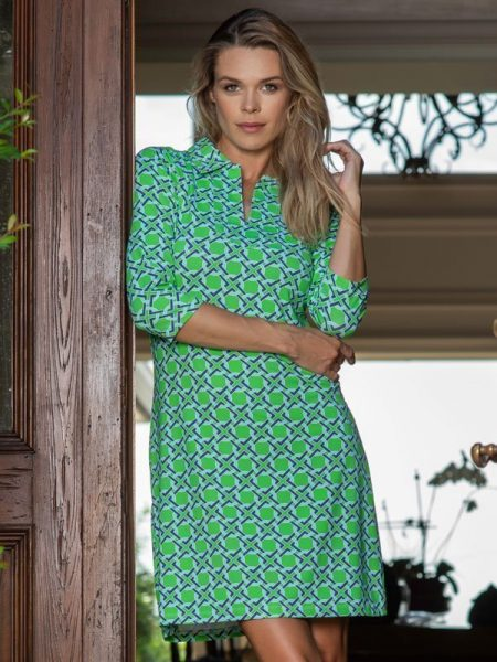53c48 nylon polo dress green navy
