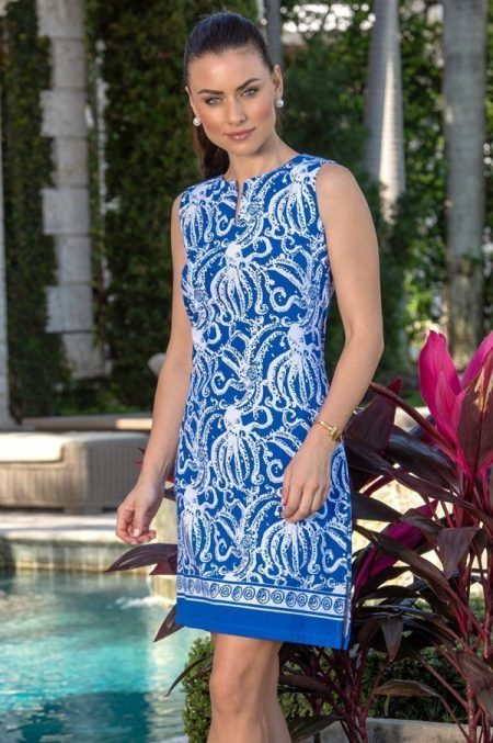12d57 octavia print palm beach shift dress navy white