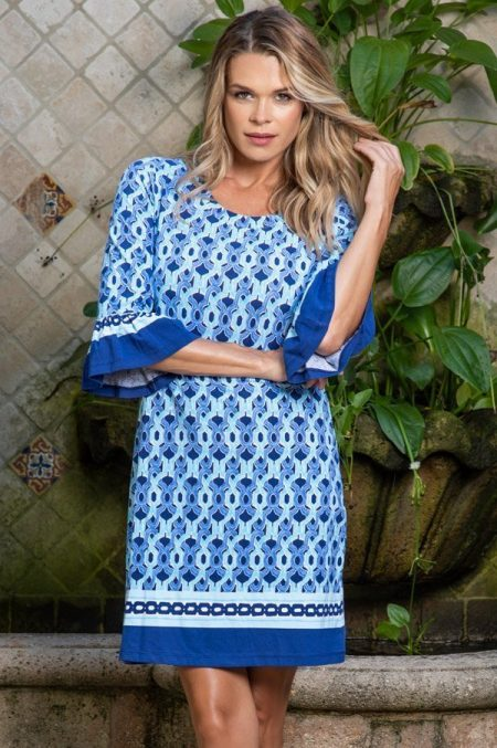 16c40 greek links print ruffle sleeve scoop neck dress blue tonal