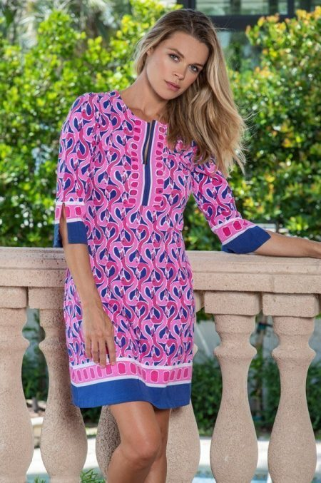 17c42 flamingo beach print slit neck dress navy pink