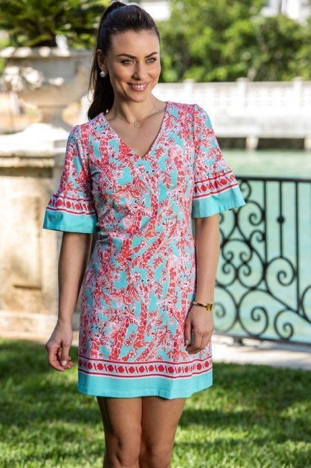 33d50 april print cabana ruffle sleeve v-neck dress jade coral