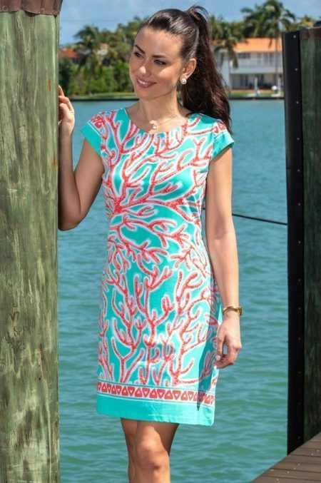 41e64 coral reef print cap sleeve dress jade coral