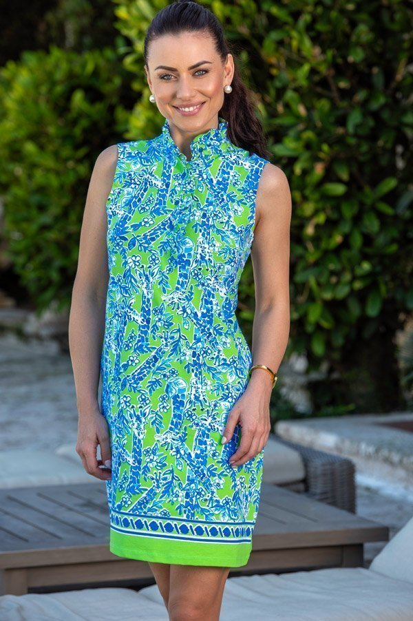 46d50 april print knit sleeveless ruffle neck polo dress kelly royal