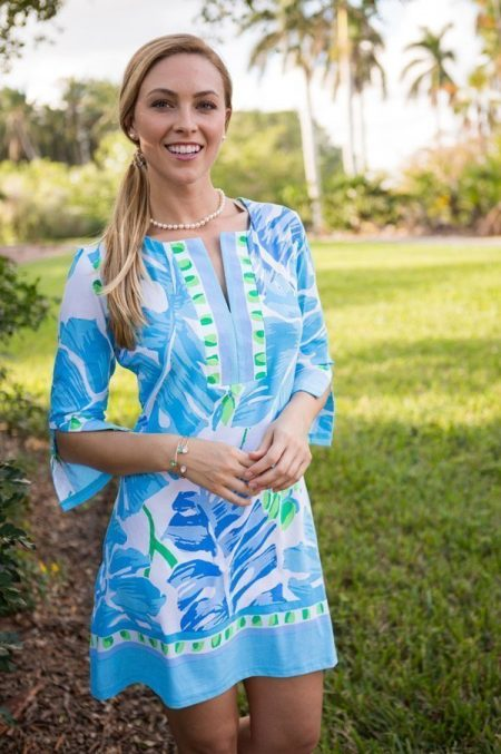 17a15-palms-print-slit-neck-dress-blue