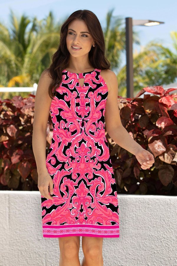 11c38-garden-scroll-print-knit-keyhole-shift-dress-black-pink