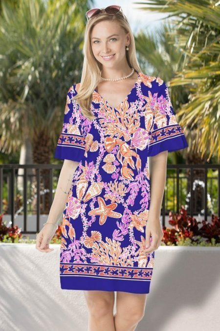 33g82-paradise-reef-print-cabana-ruffle-sleeve-v-neck-dress-navy-coral