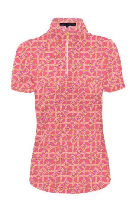 85d55-nauti-knots-print-nylon-short-sleeve-zip-mock-neck-top-flamingo-orange
