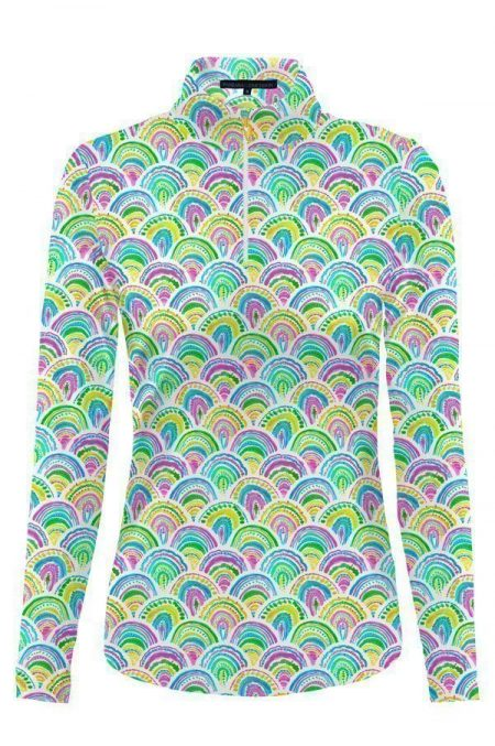 86d60-she-sells-print-nylon-long-sleeve-zip-mock-neck-top-multi