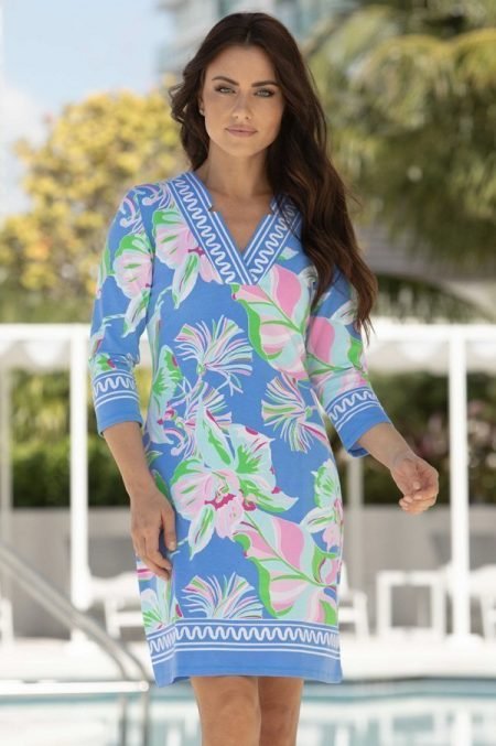 35h94-english-orchid print-v-notch-neck-dress-blue-pink