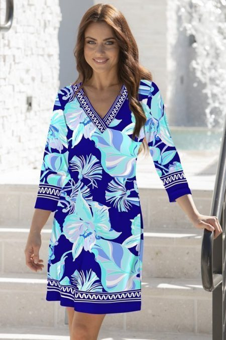 35h94-english-orchid-print-v-notch-neck-dress-navy-jade