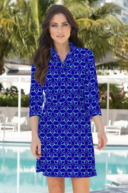 96h09-tack-room-print-ruffle-portrait-neck-dress-navy-pink