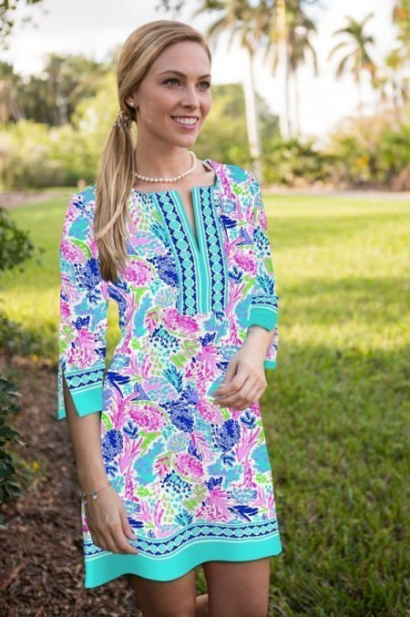 17i10 aloha print knit slit neck dress pink blue