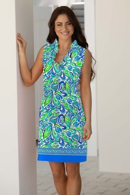 39i11 anna jardin print knit sleeveless ruffle portrait neck dress jade green