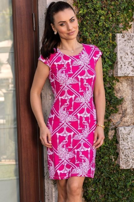 41c49-pagoda-print-nylon-cap-sleeve-dress-hotpink