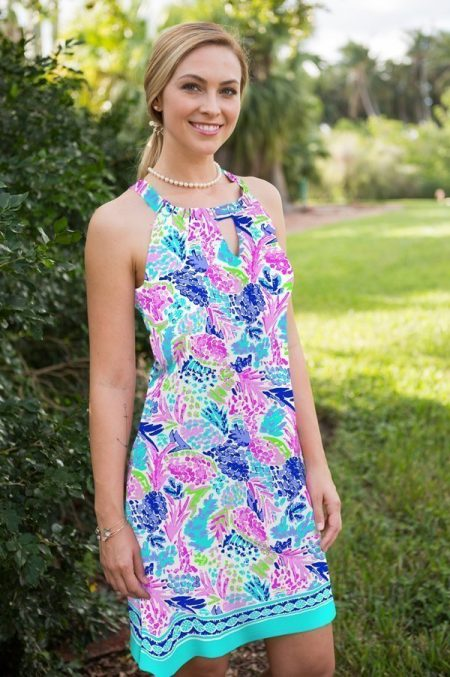 11i10-aloha print knit keywhole sleeveless shift dress pink blue 2