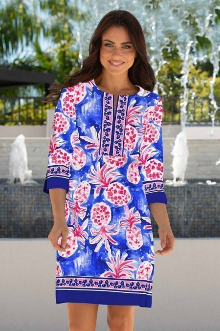 17g83-pineapple-grove-print-slit-neck-dress-navy-pink