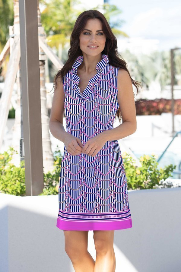 39h09 tacking up print knit sleeveless ruffle portrait neck dress navy pink