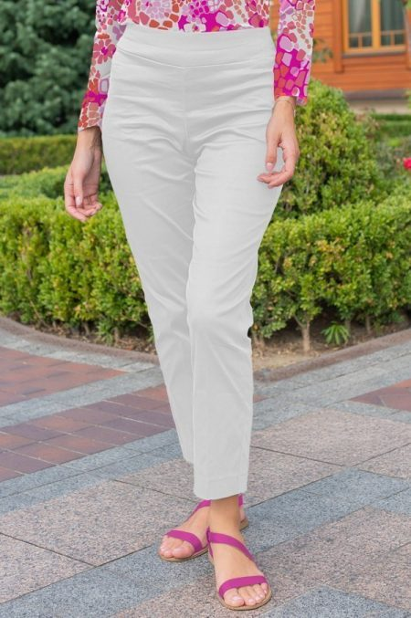 93000 solid cotton sateen pull on pant white